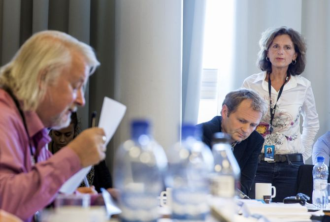 Kringkastingsrådet høsten 2014, under diskusjon om NRKs dekning av konflikten mellom Israel og Palestina. (Foto: Berit Roald / NTB scanpix)