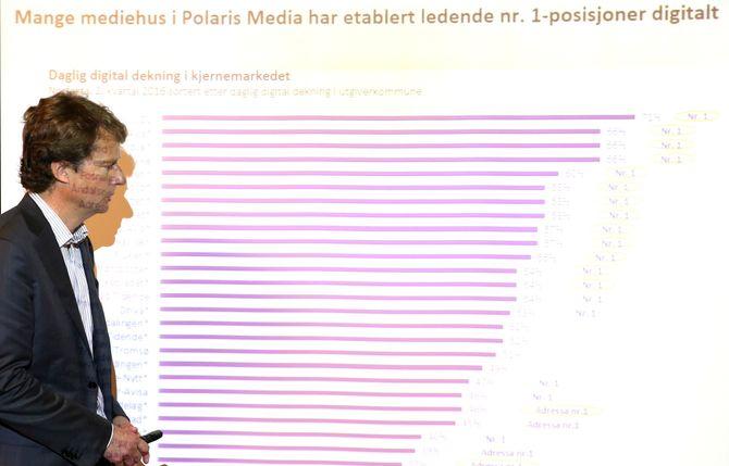 PER AXEL KOCH med lista over konsernets digitale posisjoner, på resultatpresentasjon for Polaris Media 25. august 2016. (Foto: Vidar Ruud / NTB scanpix)