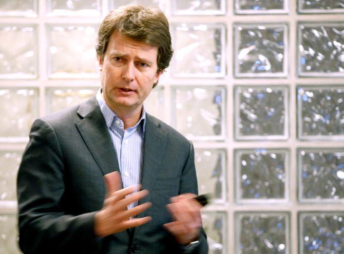 PER AXEL KOCH, konsernsjef i Polaris Media. Her fra en tidligere presentasjon. (Foto: Vidar Ruud / NTB Scanpix)