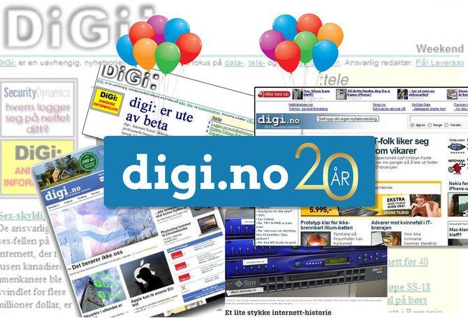 Med denne kollasjen markerer Digi.no 20 år.