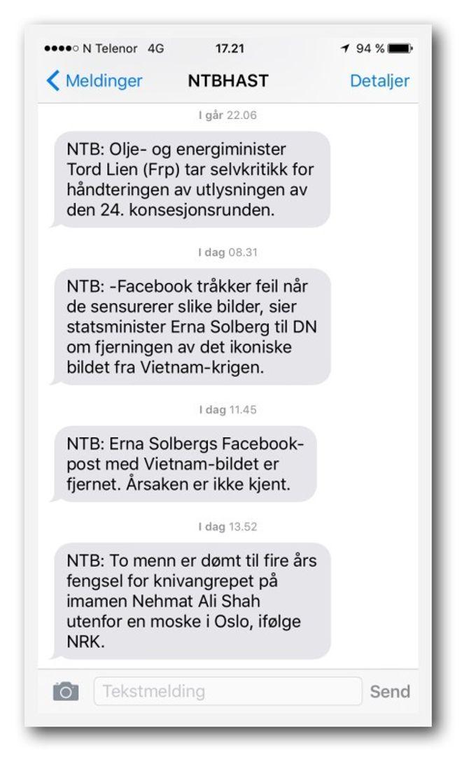 NTBHAST er meldingstjenesten som bare brukes for store og vesentlige nyheter. Der har det vært mye Facebook i dag.
