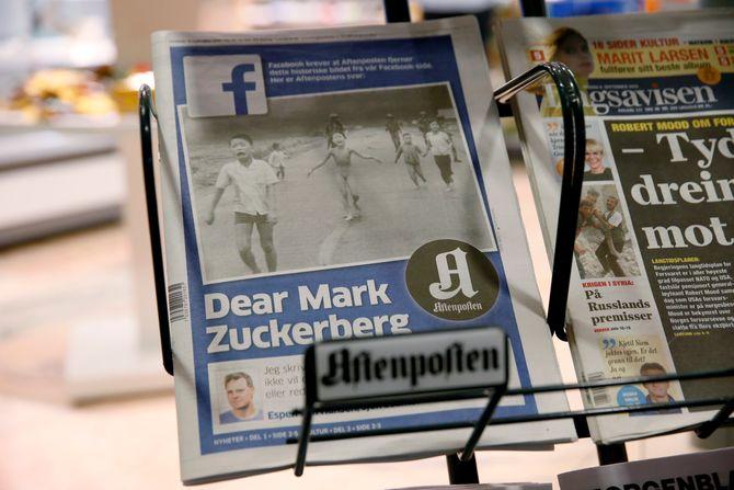 Hele forsiden på Aftenposten 9. september var viet sjefredaktør Espen Egil Hansen og hans brev til Facebook og Mark Zuckerberg hvor de kritiserer Facebook for sensur (Foto: Cornelius Poppe / NTB scanpix)