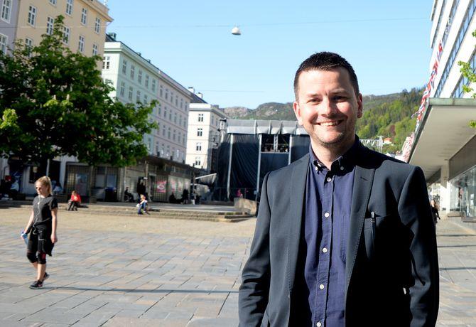 ØYULF HJERTENES på torget i Bergen. Et viktig sentrum - men redaktøren har fortsatt ambisjoner for hele regionen.