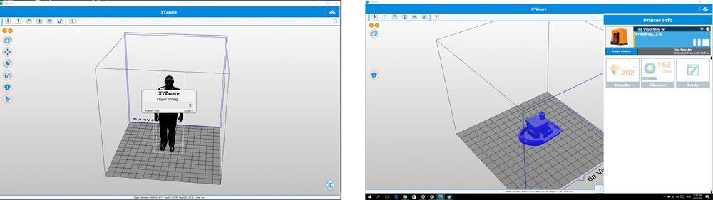 """XYZware-programmet: Odd Richard i ferd med å bli """"slicet"""" fra .stl-fil til fil skriveren kan lese. Dette tok lengre tid enn med andre slicer-programmer vi har prøvd. Programmet er litt tregt, det tar tid før det responderer. Litt irriterende tregt, faktisk."""