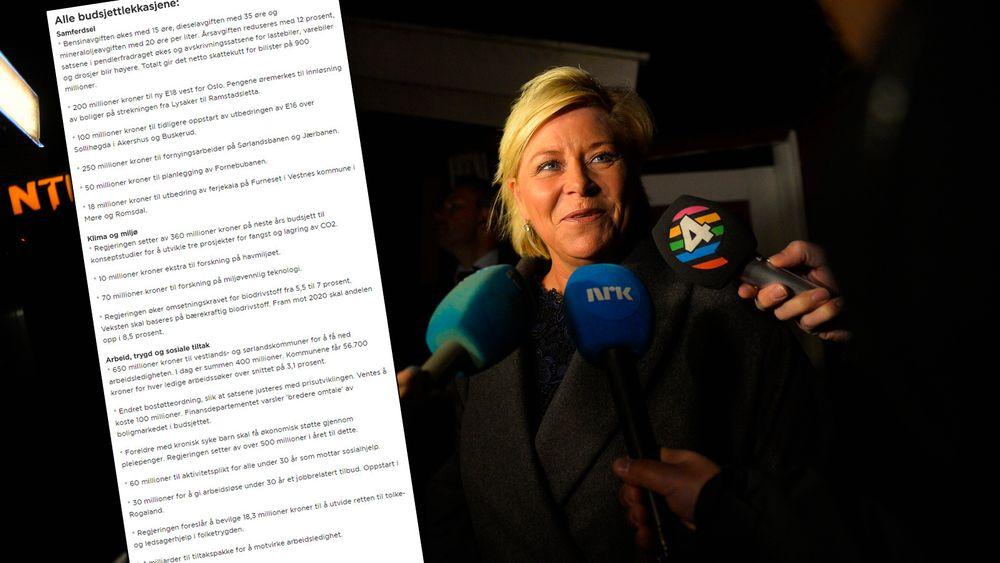Finansminister Siv Jensen møtte pressen tidlig torsdag morgen.