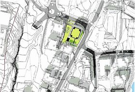 FELT BFKT1: Eiendommen til Foss & Co i Edvard Griegs vei 1 på Kolbotn kan bli transformert til en høyblokk. Skisse: Petter Bogen Arkitektkontor AS