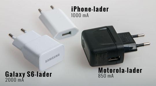 De ser grunnleggende like ut. En plugg med USB-kontakt i andre enden, men forskjellene er store mellom ladere. I tillegg til varierende ladestyrker finnes det også noen ulike standarder for hurtiglading som er enda kjappere enn disse.