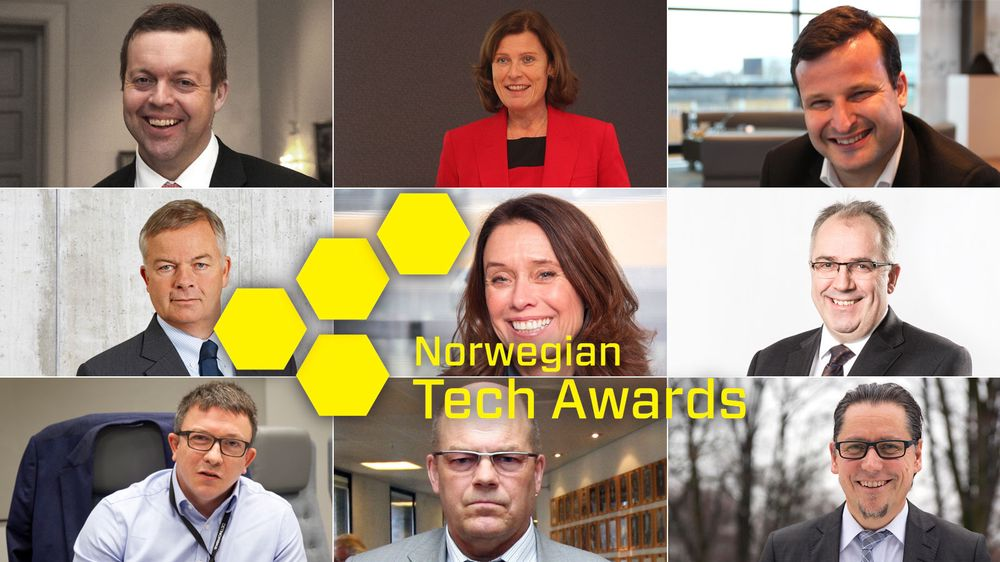 En av disse kan vinne Tech Awards-prisen «Årets leder». Øverst fra venstre: Alf-Helge Aarskog, Anne Marit Panengstuen, Are Traasdahl, Arne Giske, Hege Skryseth, Johnny Bardal, Karl Johnny Hersvik, Odd Tore Kurverud, Remi Eriksen.