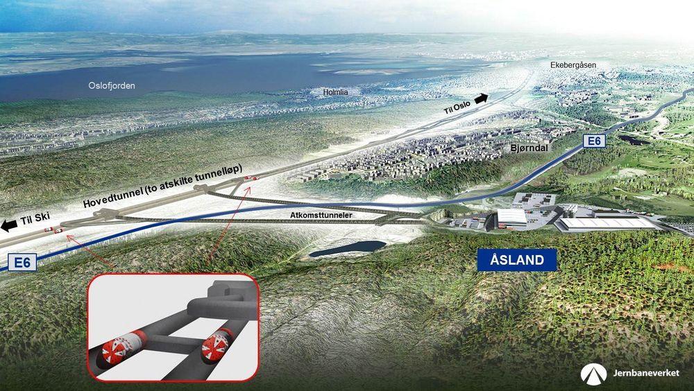 Her vil Follobanen mellom Ski og Oslo gå når den er ferdig, etter planen i 2021.