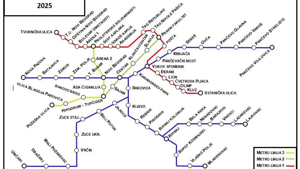 Dette forslaget viser hvordan T-banesystemet til Beograd kan utformes. Det endelige forslaget skal være ferdig 15. november i år.