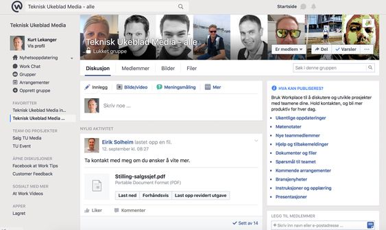 Slik ser Workplace by Facebook ut.