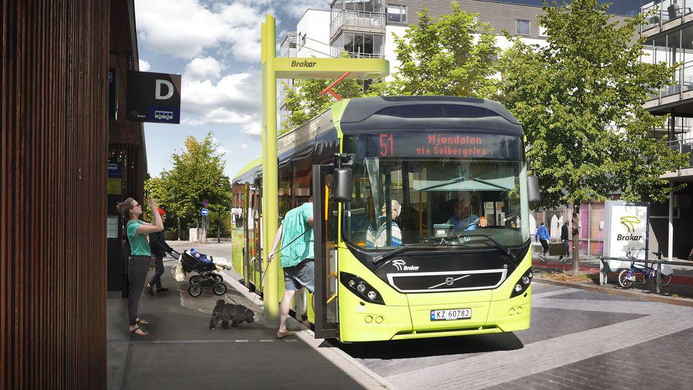 Elektrisk: Omtrent slik blir busstransporten mellom Drammen og Mjøndalen fra neste år. Elektrisk og med lading på begge endeholdeplasser.