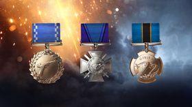 Noen av medaljene som kan tildeles i Battlefield 1.