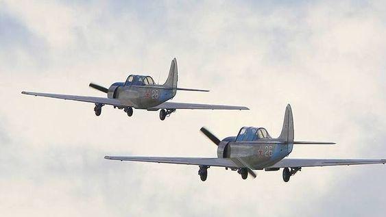 GIKK TAPT: Begge foreningens Yak52 gikk tapt i brannen.