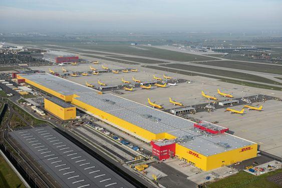 DHLs flyfrak-hub i Leipzig er enorm.