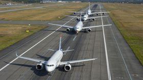 Dagens airbusmodeller på familietaksetur: A320 Neo, A330, A350 og A380.