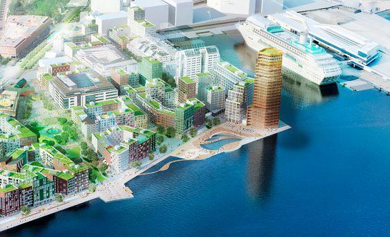 Nytt: Slik håper man at Södra Värtan vil se ut. I Värtahamnen skal fergeterminalen integreres i bolig- og næringsområde.