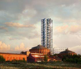 """Nesten halvert: Norra Djurgårdsstaden skulle få sitt eget ikonbygg med denne 170 meter høye skyskraperen tegnet av Herzog & de Meuron. Nå er """"tårnet"""" krympet til 90 meter, og blir dermed samme høyde som Gasklokke 4 som det erstatter."""