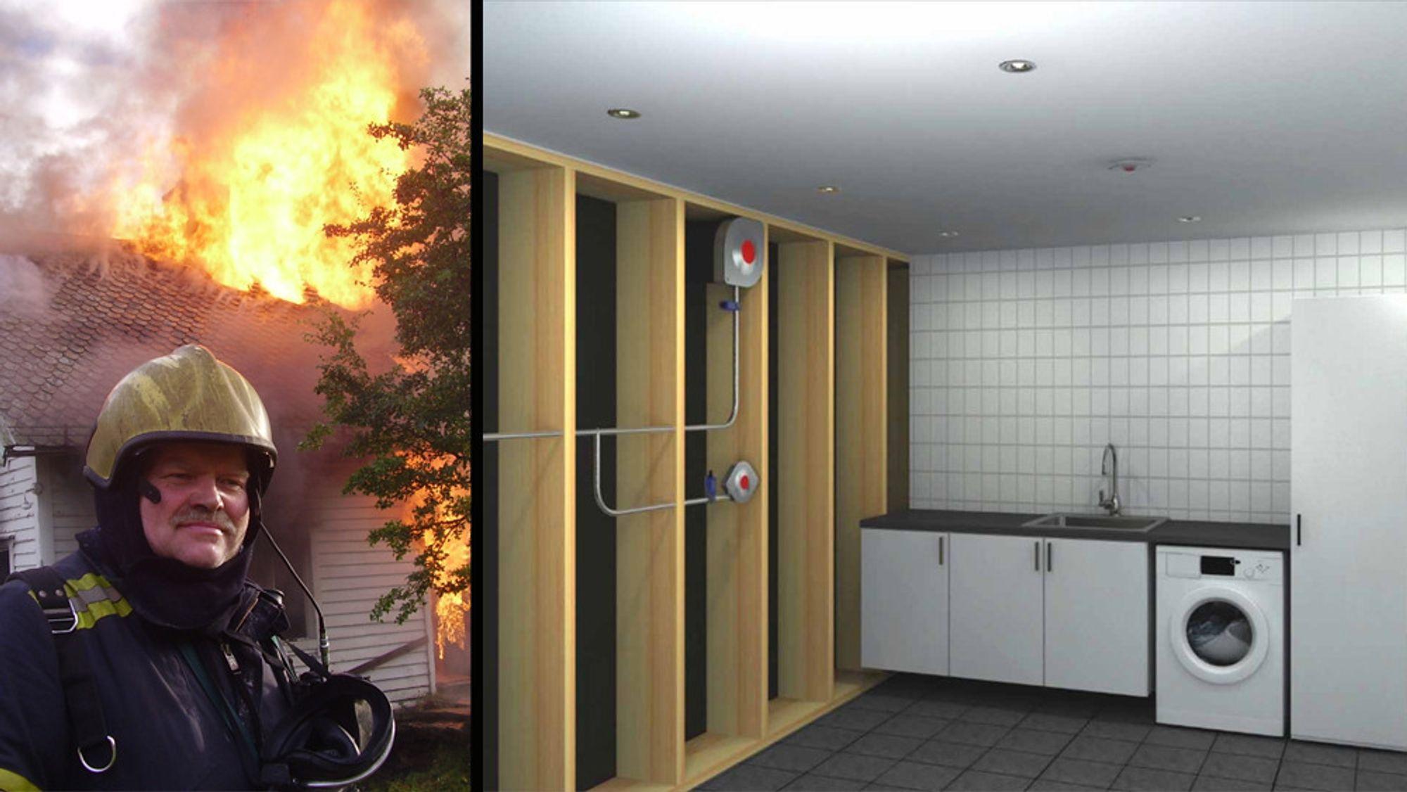 Systemet til brannmann Trond Fiskaa fungerer ved at utsugingsdysen øverst på veggen trekker røyken ut av rommet. Den nederste dysen blåser ut tåke, altså luft med høy fuktighet. Slik hindrer det brannen i å spres.