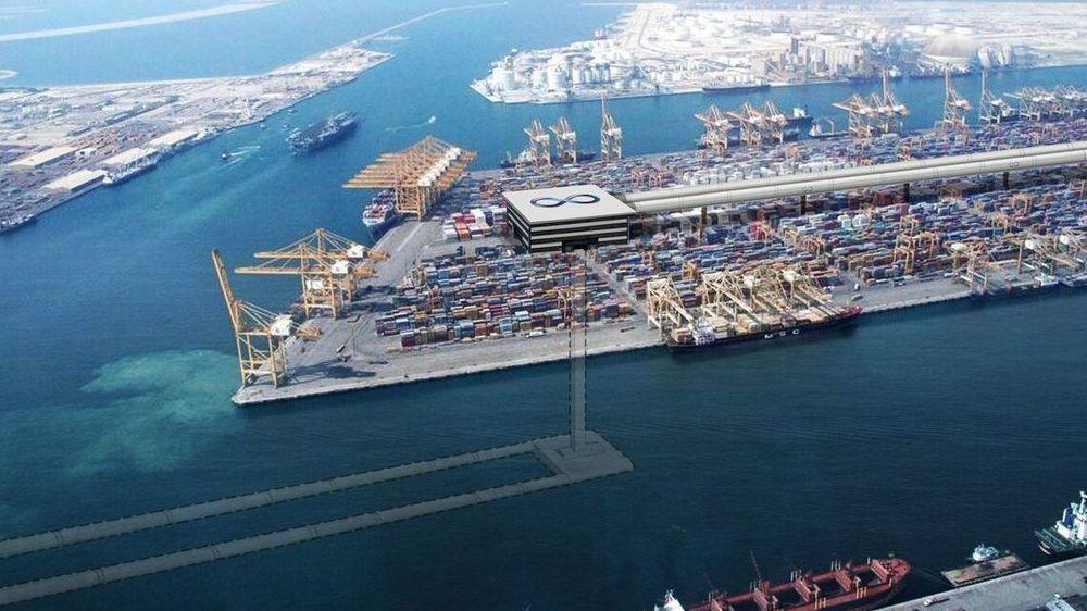 Slik forestiller Hyperloop One seg at banen på Jebel Ali-havnen i Dubai kan se ut.