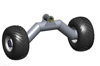 Hjul og aksler: Prototypen har to stive u-formede stålrørsaksler med navmotorer. Begge er hengt opp i et ledd som gjør at de kan tilpasse seg terrenget sideveis.