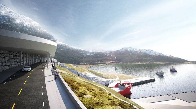 Det skal bygges bru og rassikring over den sørlige tunnelåpningen i Moldefjorden.