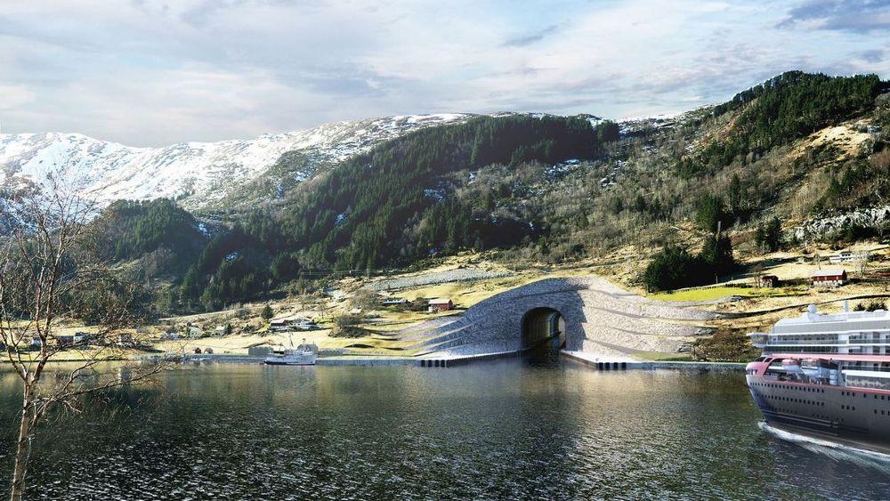 Slik ser Snøhetta for seg inngangen til Stad skipstunnel.