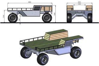 Transportplattform: Getting there er svært enkel i oppbygging og mer veltesikker enn dagens terrengkjøretøyer. I tillegg er mesteparten av overflaten tilgjengelig for last.