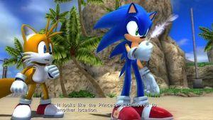 Sonic og Tailsi Sonic the Hedgehog (2006). Referansen til Super Mario illustrerer et temmeliguinspirertemanus.