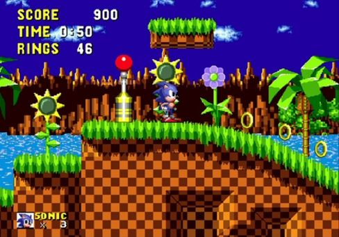 Klassiske Green Hill Zone fra det aller første spillet.