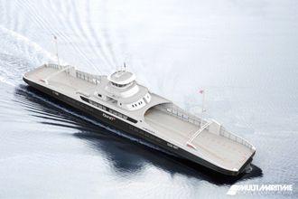 Fjord1-fergene bygges i stål og skal ha plass til 120 biler, 12 vogntog og 349 personer.