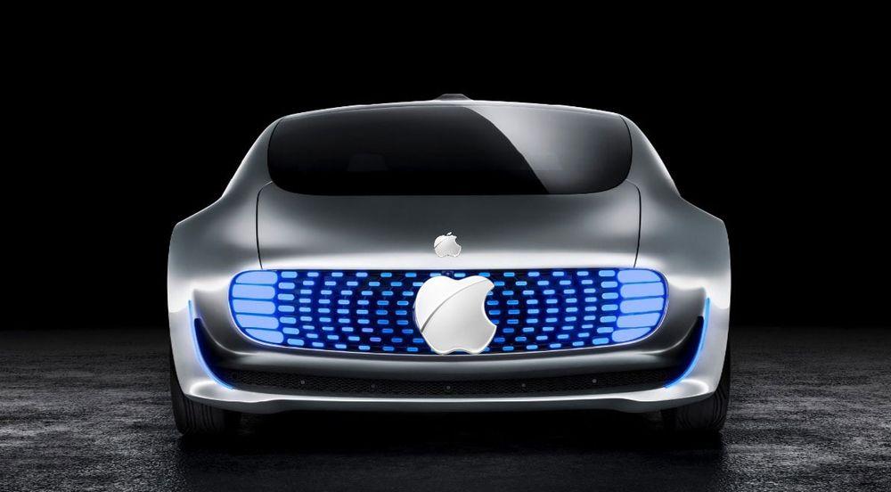 Hvordan Apples egne elbil ser ut, er det ingen andre enn Apple som vet. Bildet viser en Mercedes-Benz-elbil med Apple-logo.