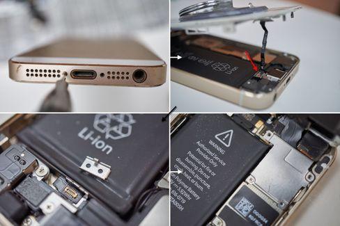 Slik åpnes en iPhone 5S. Her synes også den upraktiske plasseringen av Touch ID-kabelen godt.