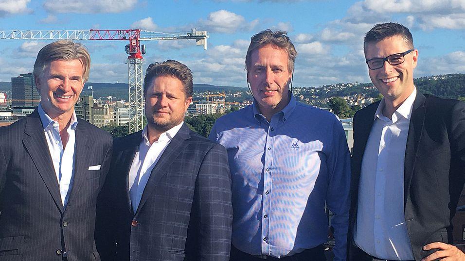 Representanter for det foreslåtte styret i Techstep og selskapets nye konsernsjef samlet. Fra venstre: Einar J. Greve, Kristian Lundkvist, Svein Ove Brekke og konsernsjef Gaute Engbakk.