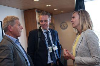 Inga Bolstad i Riksarkivet skrøt av ekspertrådet også i møte hos KMD før sommeren. Her avbildet sammen med (fra v.) Husbanken-direktør Bård Øistensen og Difi-direktør Steffen Sutorius.