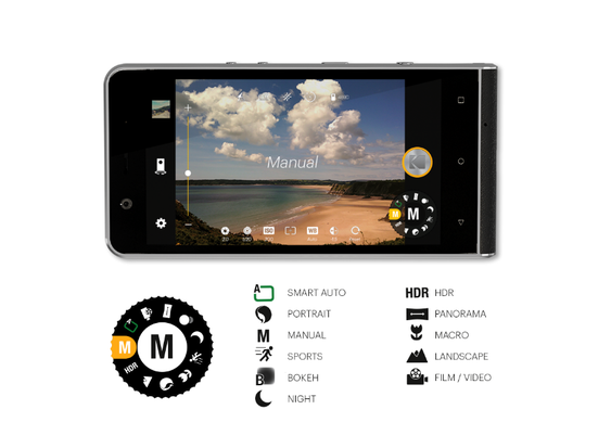 Mobilen har mange manuelle kamerafunkskjoner og et klassisk funksjonshjul med fysiske tilbakemeldinger.