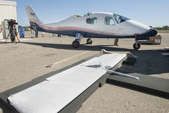 P2006T-flyet etter ankomst fra Napoli i sommer. Skroget skal nå til Scaled Composites i Mojave der det skal få nye vinger med integrerte elmotorer.
