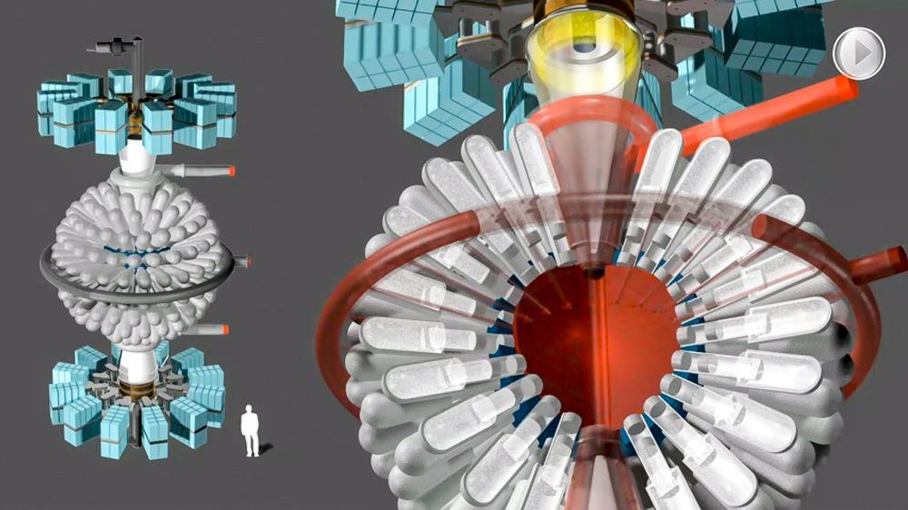 200 stempler: Prinsippet som kanadiske General Fusion jobber med høres temmelig hårete ut. De vil skyte to hydrogenplasmastråler mot hverandre og øke temperatur og trykk mekanisk med 200 stempler som komprimerer flytende bly og litium.