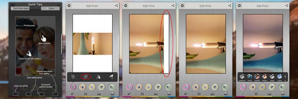 Edit Print i Android-appen har mange tilpasningsmuligheter...