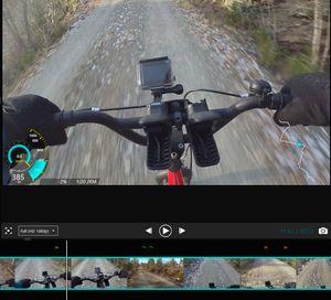 Skjermbilde fra Garmins redigeringsprogram, med der vi kan legge inn fartsdata og enkelt finne automatiske høydepunkter i tidslinjen. Klikk på bildet for å se det i større oppløsning.