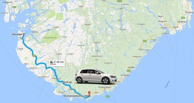 Volkswagen har tidligere sagt at nye e-golf får en praktisk rekkevidde på 200 kilometer.