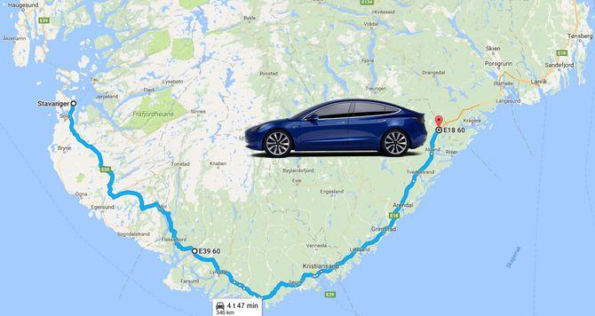 Tesla oppgir en minste rekkevidde på 346 kilometer for sin Model 3.