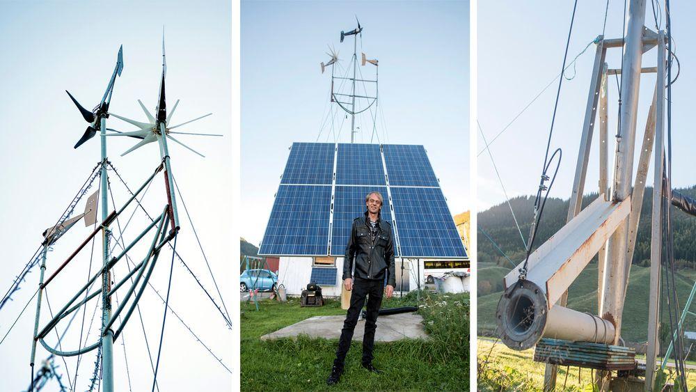 Energipark: Tore Neverås har bygd opp solcelle- og vindparken i hagen sin siden 2011. Teknologien blir stadig bedre og billigere.