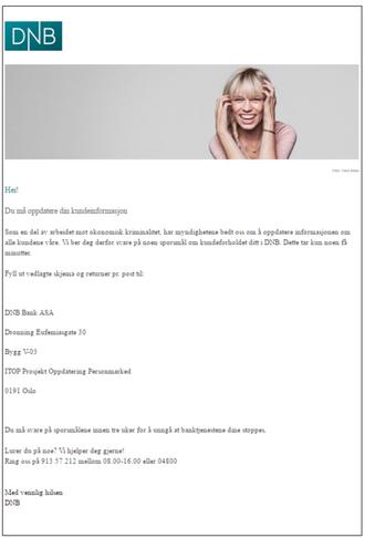 Denne eposten sendte Dnb til noen av sine kunder fredag 21. oktober.