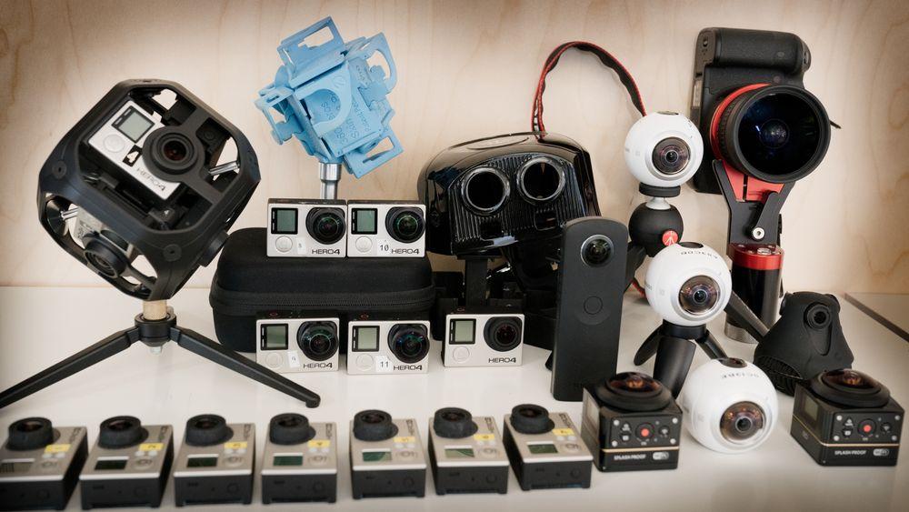 Dette er 360/VR-kameraene vi bruker i TU for tiden.