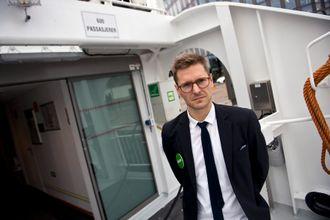 Torkil Dyb Remøy i Oslo kommune holdt innlegg under ferjeturen. Han er koordinator for biogass i kommunen.