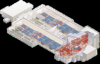 National Ignition Facility: Laserpulsene genereres i rommet til høyre for midten og går videre til bølgelederne (blå) på hver side. Her forsterkes laserlyset av 7 680 xenon blitslamper før strålene ender opp i et koblingskammer hvor de siktes inn til målkammeret.