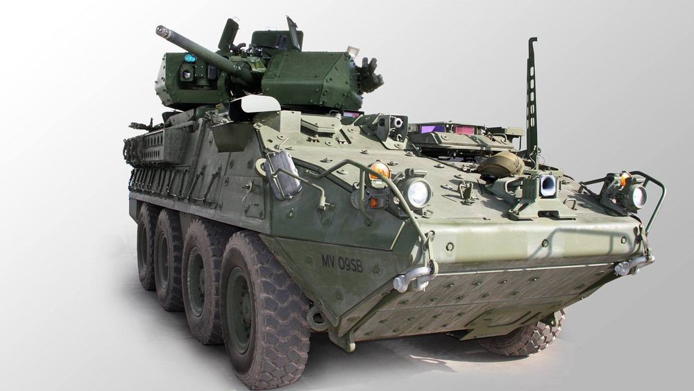 En Stryker-testvogn med ubemannet tårn fra Kongsberg.