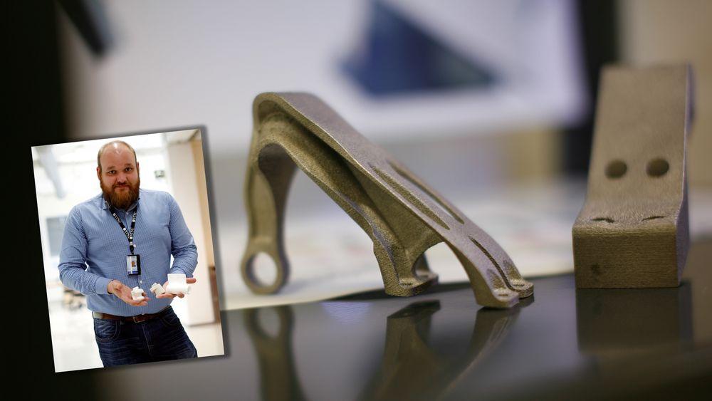 Aerospace: De 3D-printede vingrebrakettene veier kun en tredjedel av det en vanlig maskinert brakett veier. Aerospace er bare ett av bruksområdene for den avanserte 3D-printeren, sier Svein Hjelmtveit.