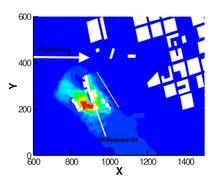 Gassutslipp: Den generelle vindretningen er vist med den ene pilen, mens den andre viser utslippspunktet. De andre hvite arealene er bygninger og en liten skog som er en effektiv hindring for spredning av tunge gasser. Gassen spres i motsatt retning av vindretningen i simuleringen - fordi gassen er tyngre enn luft og at bakken heller nedover mot vindretningen. Det er nettopp slike effekter CFD-metoden kan beregne.